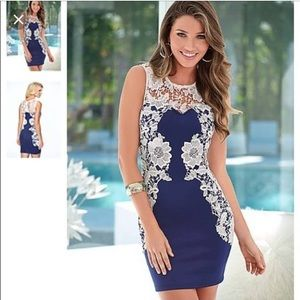 Navy with white lace detail dress.